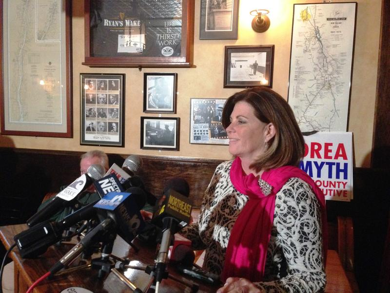 Addressing supporters in Troy, Democrat Andrea Smyth announced she will wait for all the votes to be counted.