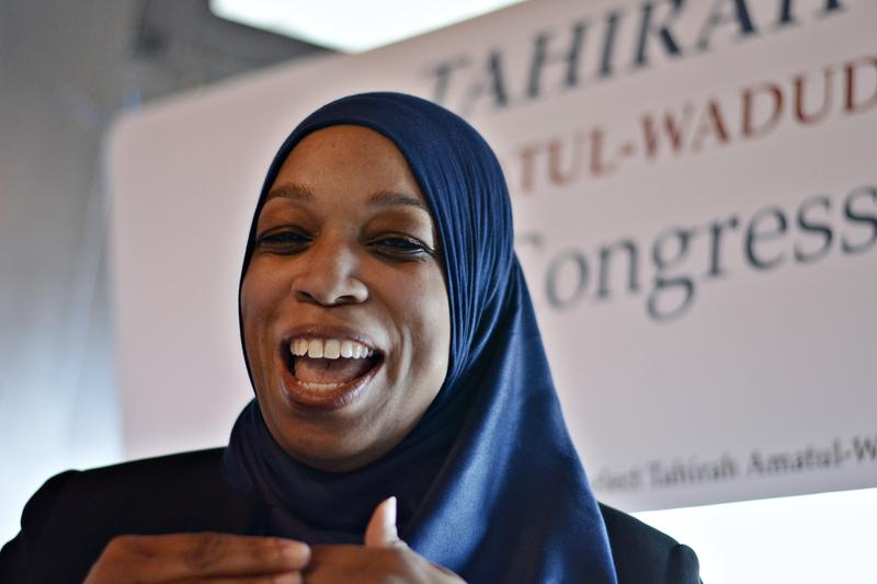 Tahirah Amatul-Wadud makes a campaign stop in Pittsfield.