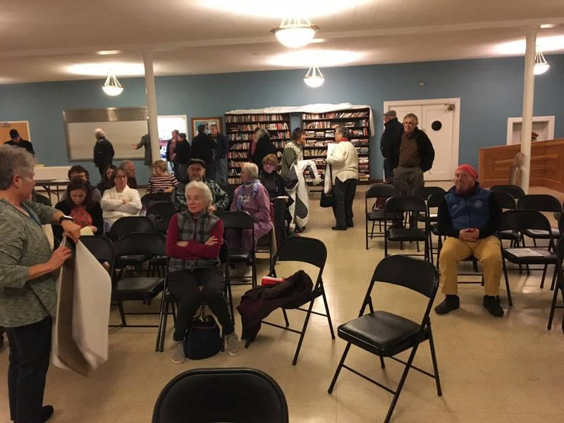 Some of the residents who gathered at First Congregational Church on Quail Street for the New Scotland Village presentation.