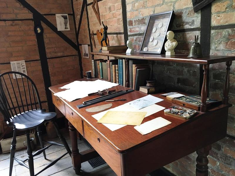 Thomas Cole's desk in the Old Studio at the Thomas Cole National Historic Site in Catskill, NY