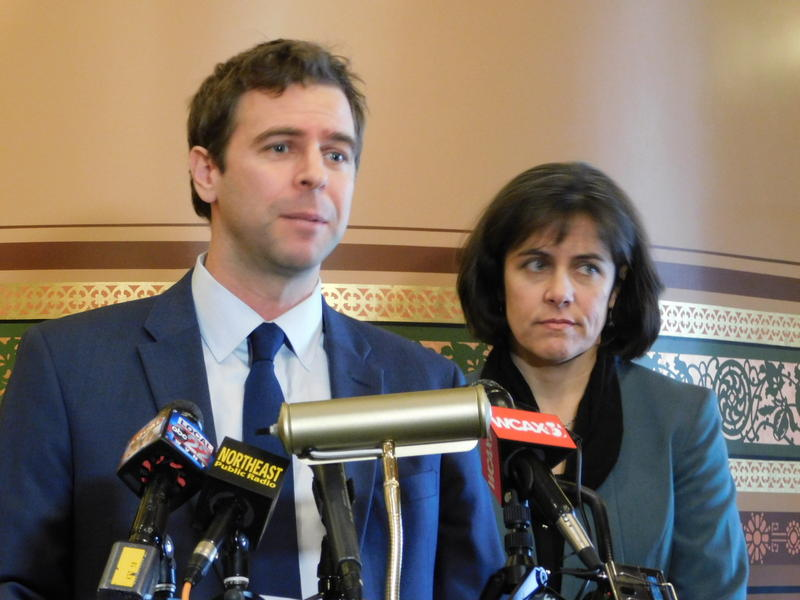 Vermont Senate Pro Tem Tim Ashe (left) and House Speaker Mitzi Johnson outline legislative priorities