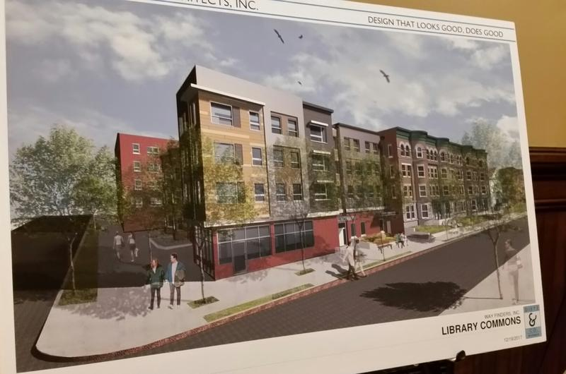 A rendering depicts a completed rental housing development Library Commons in Holyoke which was awarded go-ahead funding from the state