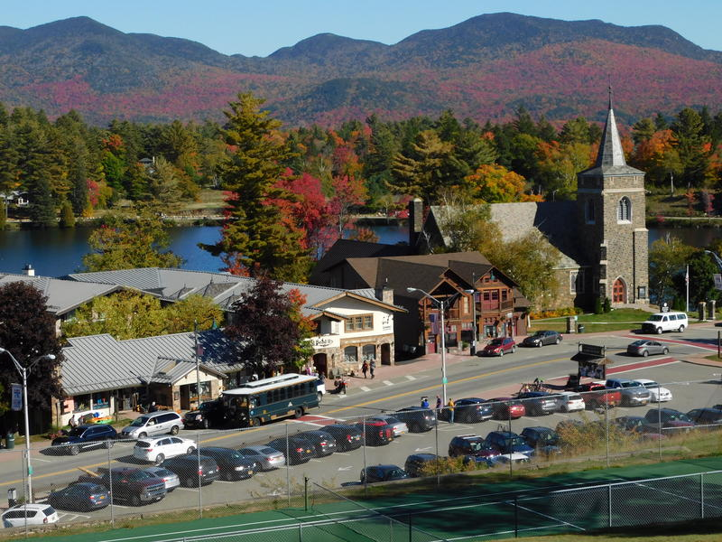 Main Street in Lake Placid overlooking Mirror Lake and the Adirondacks
