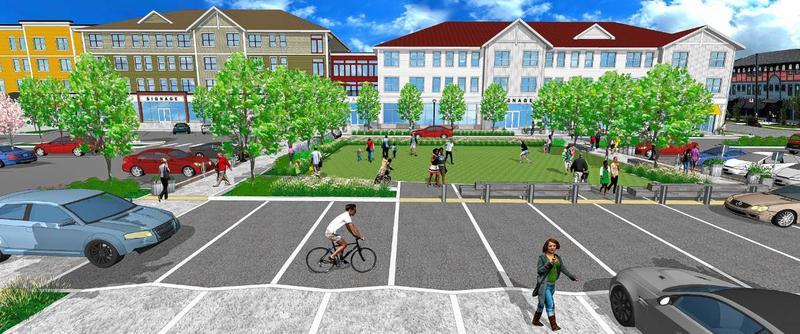 A rendering shows the completed $47 million North Square at the Mill District mixed-use development in Amherst
