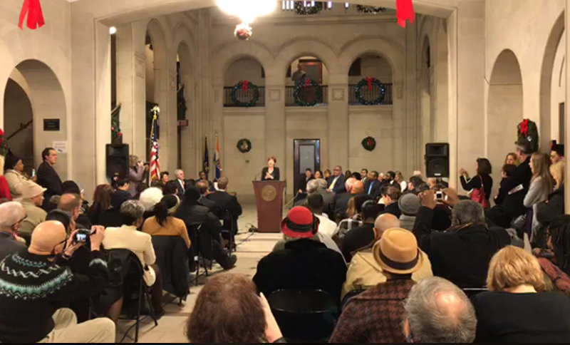 Albany Mayor Kathy Sheehan address those gathered Monday for swearings-in at Albany City Hall.