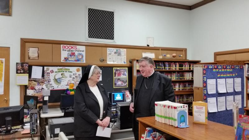 Bishop Rozanski chats with Sister Andrea Ciszewski, Diocesan Superintendent of Schools