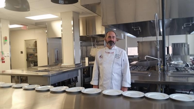 Holyoke Community College culinary arts dept. chairman and chef Warren Leigh in the new culinary institute's commercial kitchen