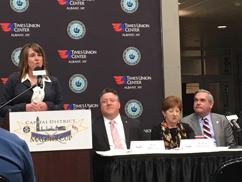 Troy Deputy Mayor Monica Kurzejeski, Albany County Executive Dan McCoy, Albany Mayor Kathy Sheehan, Schenectady Mayor Gary McCarthy at the TU Center (January 2018)