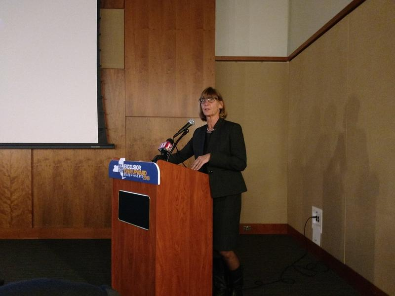Acting NYS DMV Commissioner Terri Eagan speaking in Glens Falls on January 8th, 2018