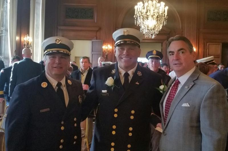 From left, Massachusetts State Fire Marshall Peter Ostroskey, Commissioner Calvi, Mayor Domenic Sarno