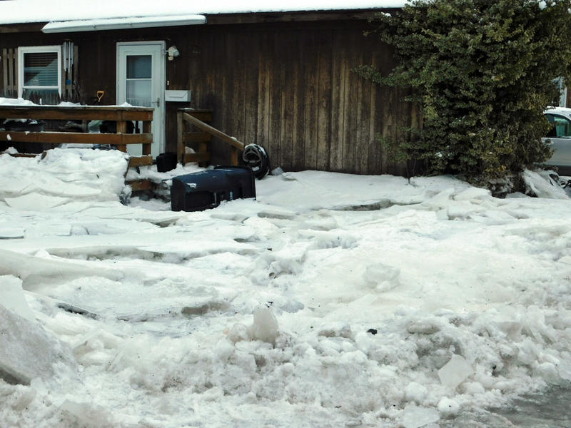 Ice and flooding damages homes at Underwood Mobile Home Park