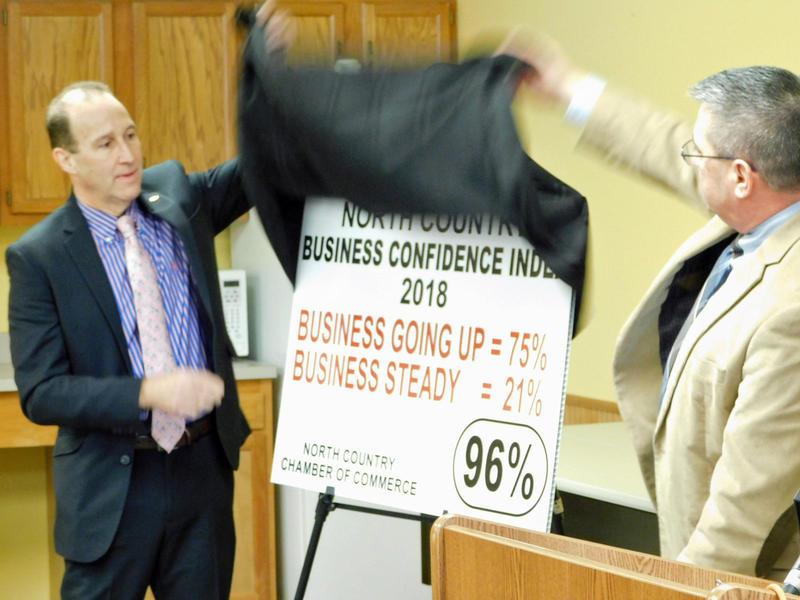 Kent Backus (left) and John VanNatten unveil the 2018 Business Confidence Index