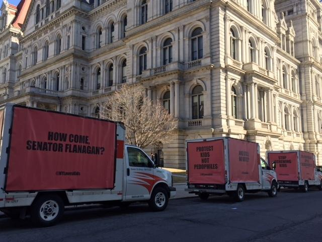 Three billboards outside the state capitol in Albany.