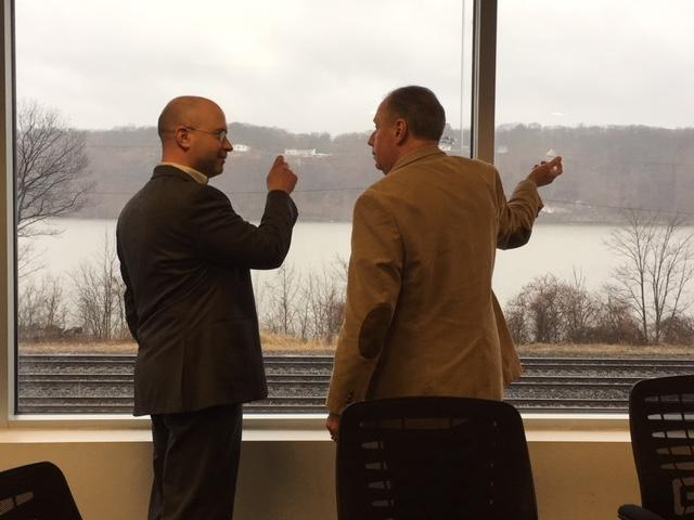 Riverkeeper's Dan Shapley (l) and Poughkeepsie Town Councilman Bill Carlos (r) at Poughkeepsie's Water Treatment Facility
