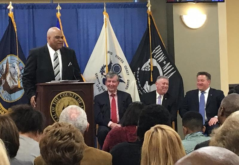 """""""Citizen of the Month"""" Pastor David Traynham addresses a packed house in the Cahill Room at the Albany County Office Building."""
