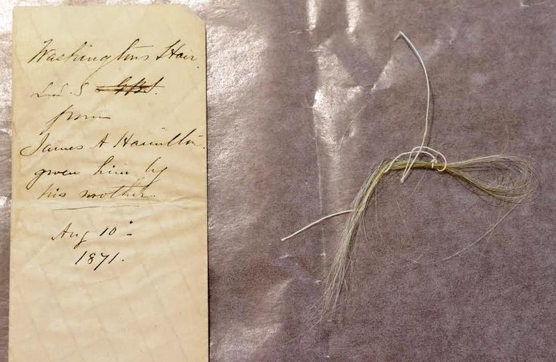 The handwriting believed to be James Hamilton's on the envelope is similar to Hamilton's handwriting that accompanies strands of Washington's hair held by the Massachusetts Historical Society.