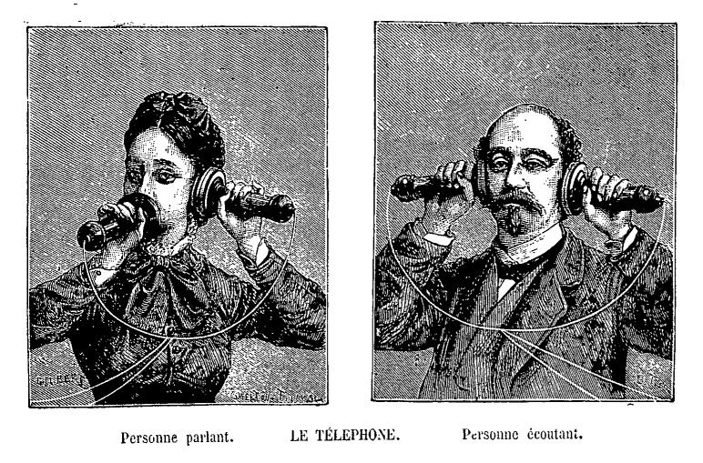 Illustration of early telephone set