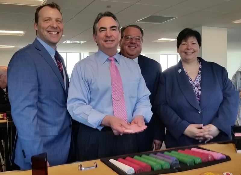 From left, STCC President John Cook, Mayor Domenic Sarno, Robert Westerfield of MGM, HCC President Christina Royal