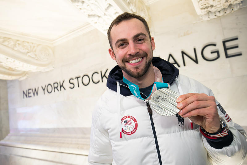 Olympic silver medalist Chris Mazdzer rang the New York Stock Exchange opening bell Thursday 2/22/18