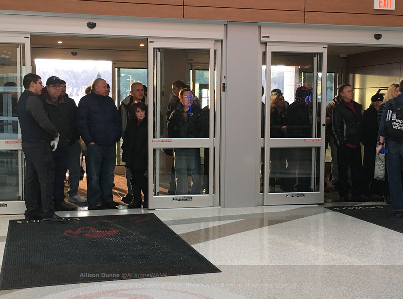 Patrons lining up at Resorts World Catskills on opening day.