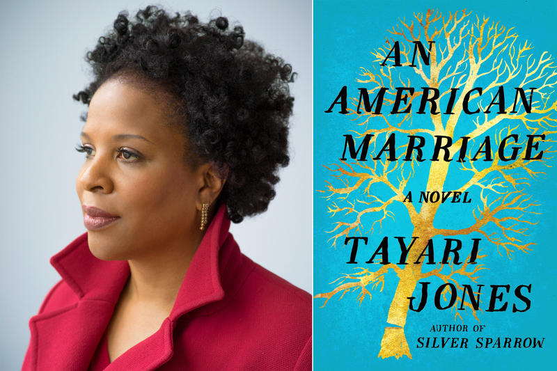"Tayari Jones and the cover of the book ""An American Marriage"""