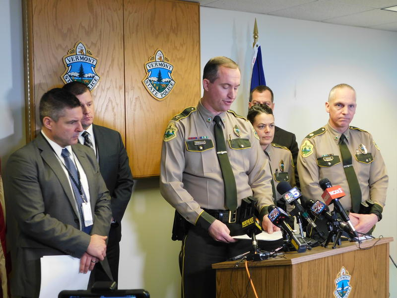 Colonel Matthew Birmingham (center, tallest) leads press conference on officer-involved shooting