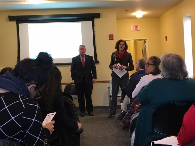 Assemblymembers John McDonald & Pat Fahy Thursday night at the Albany Public Library community forum about the New York budget.