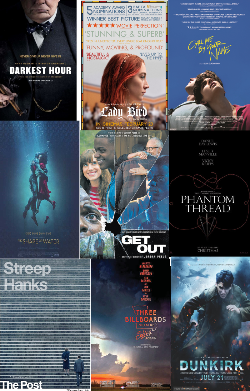 Oscars 2018 Best Film posters