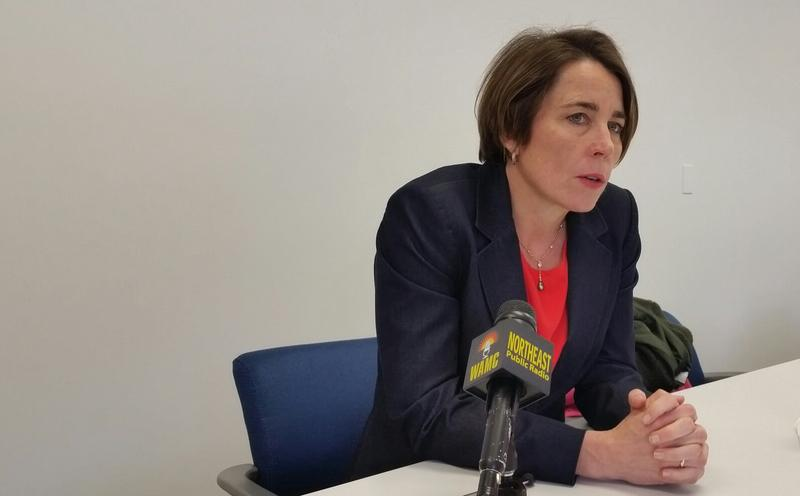 Massachusetts Attorney General Maura Healey spoke with reporters about her concerns over the abrupt closure of Mount Ida College and the plans by UMass Amherst to purchase the Newton campus of the small private school.