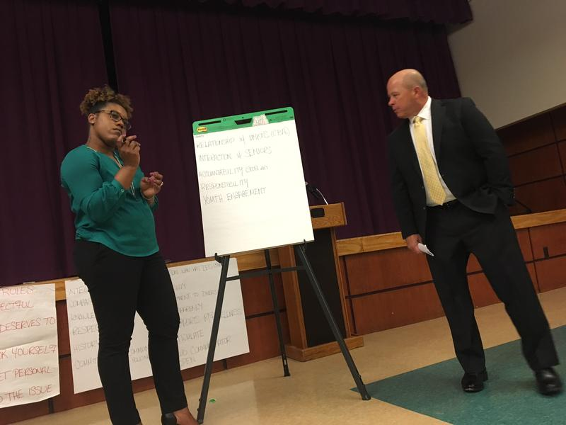 Albany's chief diversity officer Jellisa Joseph with Gary Peterson, president and CEO of Public Sector Search and Consulting at the Whitehall Road JCC (April 17, 2018)