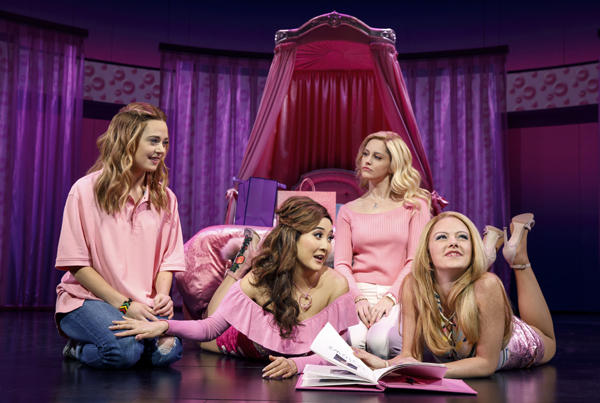 Mean Girls (pictured L to R): Erika Henningsen (Cady Heron), Ashley Park(Gretchen Wieners), Taylor Louderman (Regina George), and Kate Rockwell(Karen Smith)