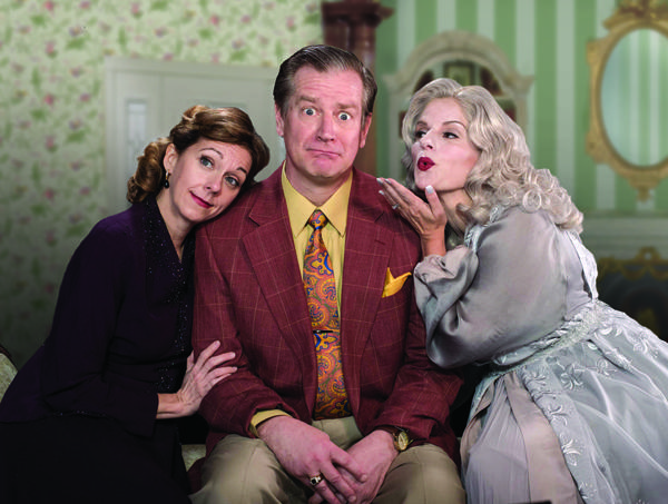 Brenny Rabine (Ruth Condomine), Gary Lindemann (Charles Condomine) and Yvonne Perry (Elvira) in Blithe Spirit at Capital Repertory Theatre, April 6–May 6