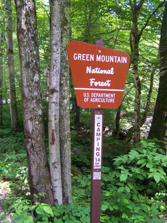 Green Mountain National Forest sign