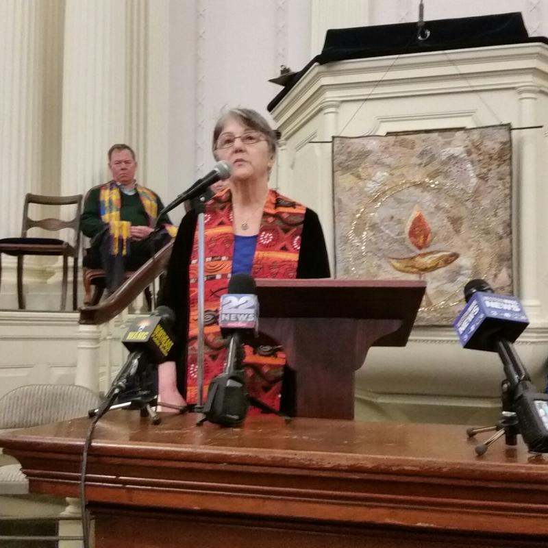 Rev. Janet Bush, minister of the Unitarian Society of Northampton and Florence, spoke at a news conference about the congregation's decision to provide sanctuary to an undocumented immigrant facing deportation.