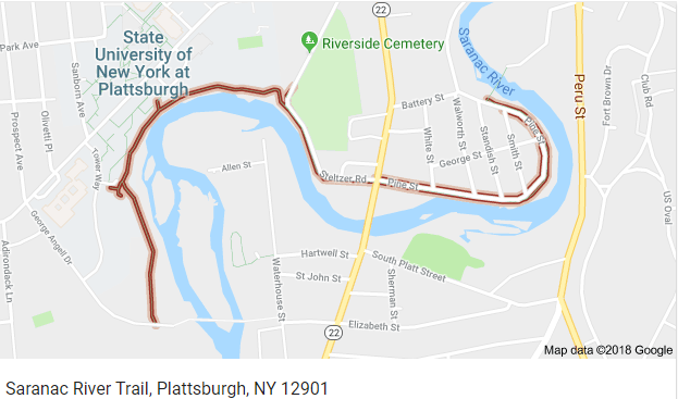 Google map view of the Saranac River Trail
