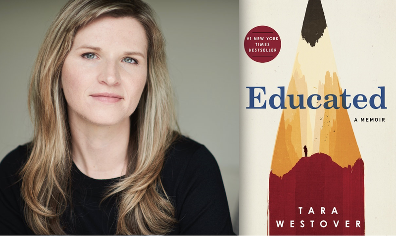 "Tara Westover and the book cover for ""Educated: A Memoir"""