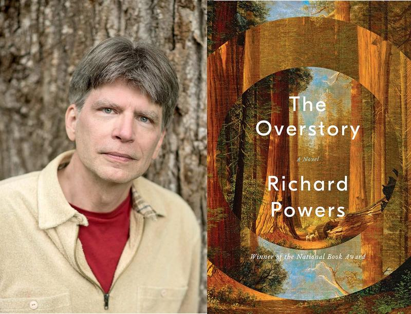Richard Powers author photo and book cover for The Overstory