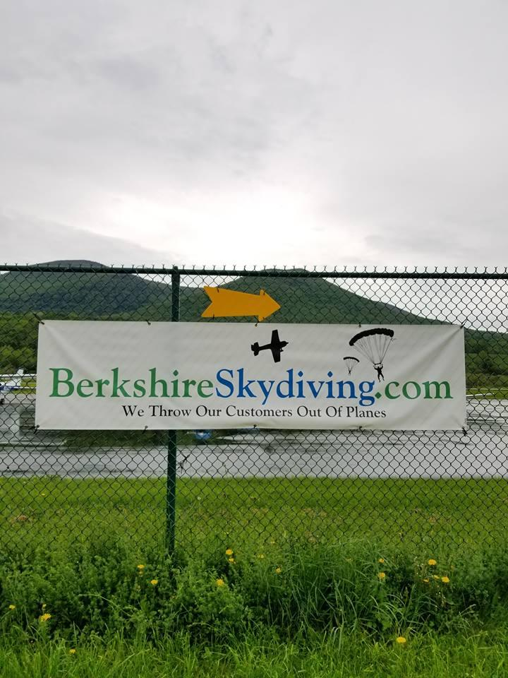 Berkshire Skydiving's signage at the Harriman-and-West public airport in North Adams.