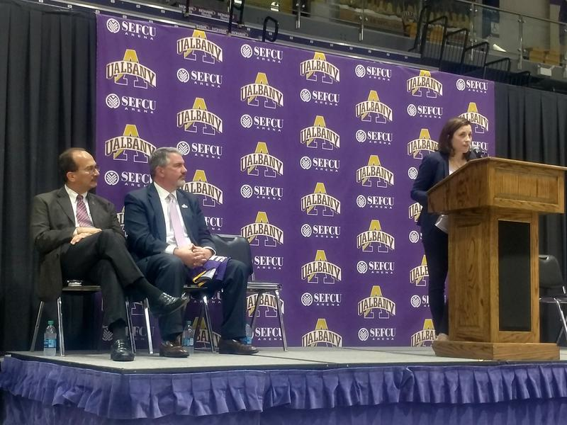 UAlbany President Havidán Rodriguez, UAlbany Athletic Director Mark Benson & Coach Colleen Mullen