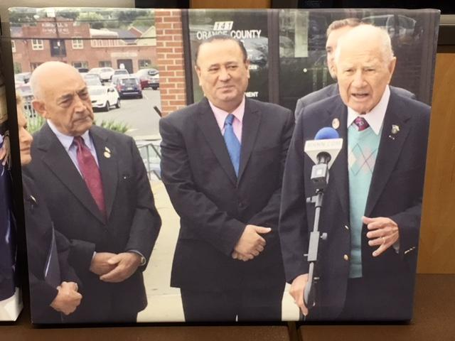 Photo at NYS Senator Larkin's retirement announcement. NYS Assemblyman Frank Skartados, who died in April, is in the middle.