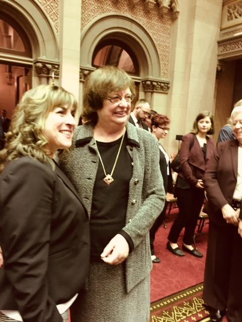 NY Interim Attorney General Bararba Underwood posing with state Assemblywoman Christine Pelligrino as lawmakers lined up to get their picture taken with Underwood.