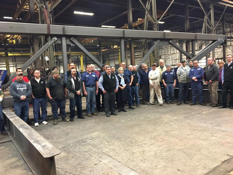 New York U.S. Senator Kirsten Gillibrand with workers at employee-owned Schenectady Steel in Rotterdam. (April 30, 2018)