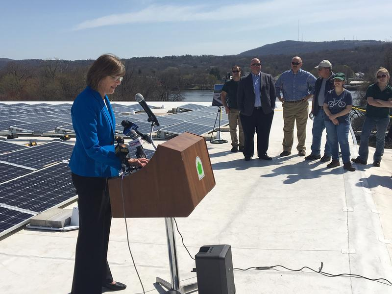 NYS Parks, Recreation and Historic Sites Commissioner Rose Harvey discusses the installation of solar panels on the roof of the state Historic Sites' headquarters building on Peebles Island.