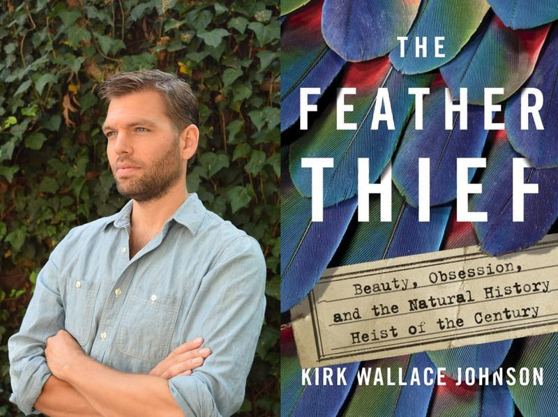 "Kirk Walla Johnson and Book cover ""The Feather Thief"