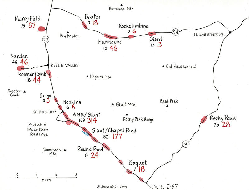 Adirondack overuse map detailing Routes 73, 9 and 9N