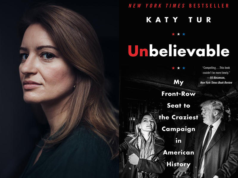 "Katy Tur and book cover for ""Unbelievable"""