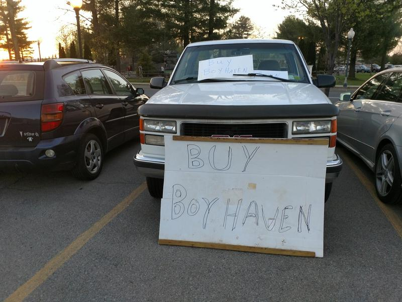A vehicle parked outside a Milton town board meeting earlier this year