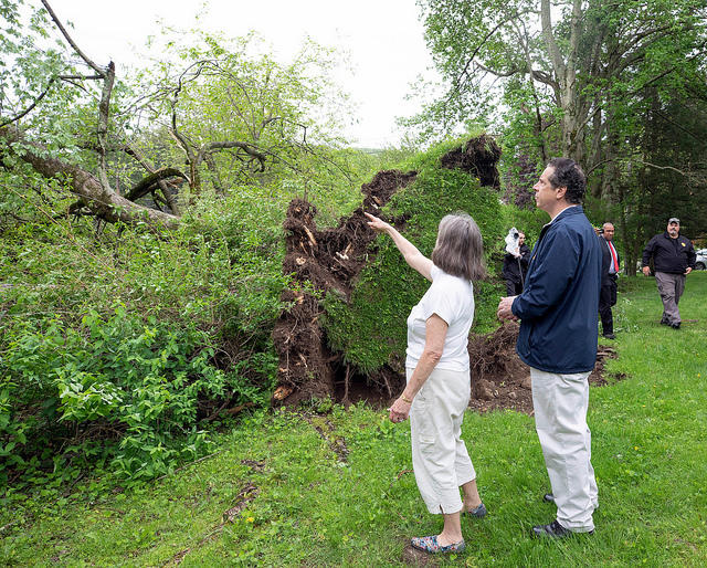 NY Gov. Andrew Cuomo tours storm damage in Putnam County