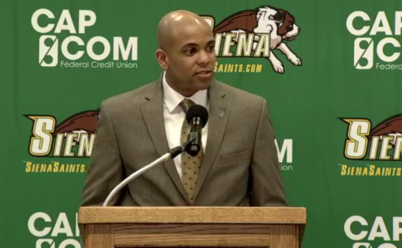 Siena's new men's basketball coach, Jamion Christian, addresses reporters Wednesday.