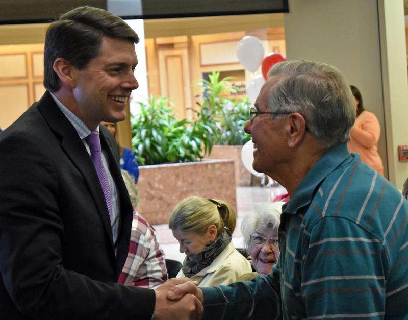 Assemblyman D. Billy Jones greets seniors at Senior Planet in Plattsburgh